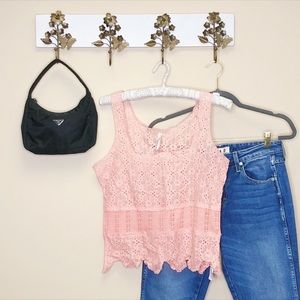 Free People Lace Sleeveless Pink Festival Top